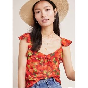 NEW Anthropologie Ruffled Strawberry Top Red 0